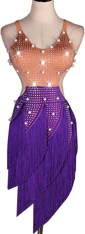 Professional Latin Wettbewerb Tanz-Kleider für Frauen Perle Strass Mit Fransen Swing Rock Rückenfrei Halter Tango Zumba Rumba Salsa Tanz Performance Kleidung
