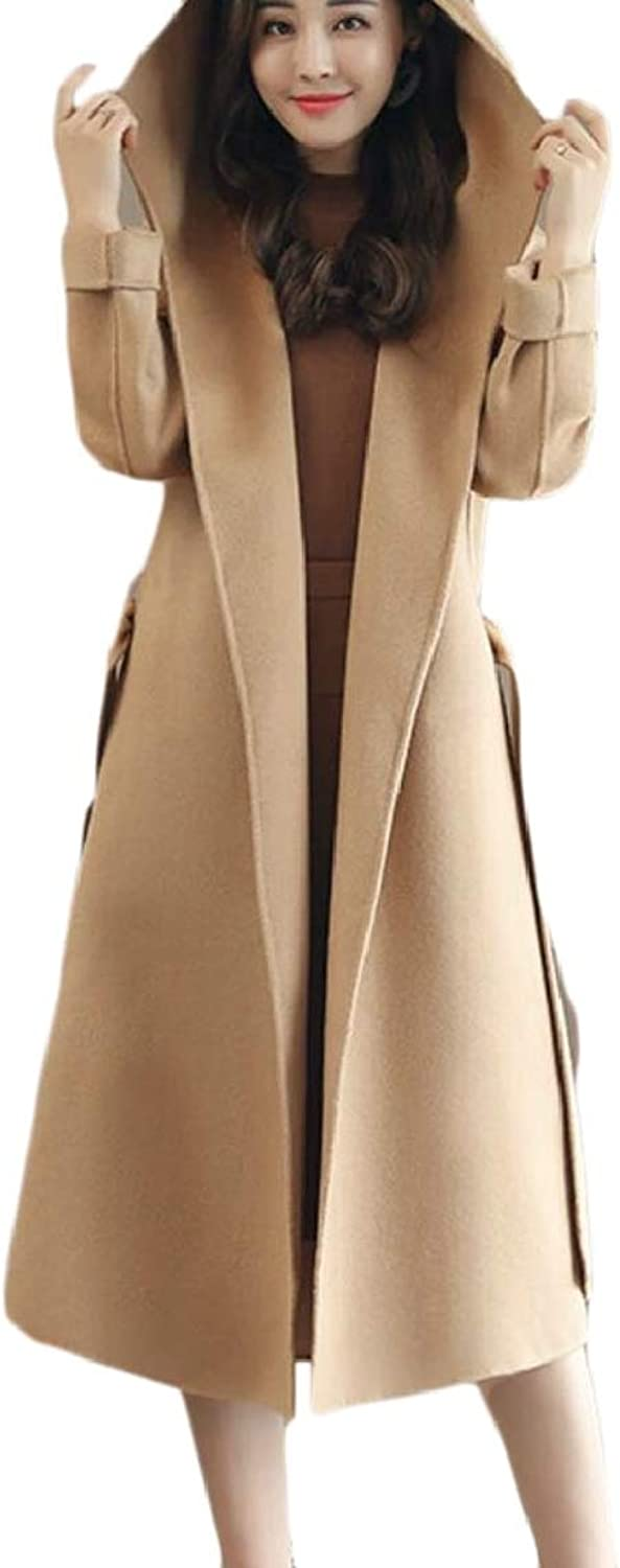 LKCENCA Womens Long Hoodies Overcoat Solid Wool Blend NoButtons Trench Coat