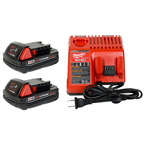 Milwaukee 48-59-1812 12V/18V Battery Charger and (2) 48-11-1820 18V 2.0Ah Batteries