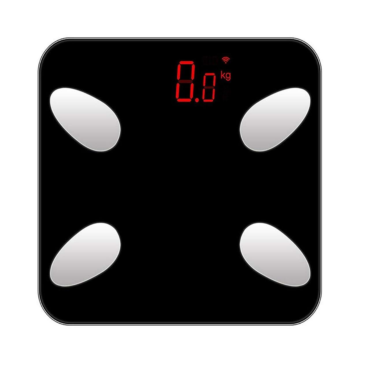 サーキットに行く不運母音XF 体重計?体脂肪計 Bluetoothの体脂肪計 - iOSとAndroidのスマートフォンアプリケーションで充電可能なデジタルバスルームスケールUSBワイヤレスBMIスケール体脂肪計 - ブラック 測定器