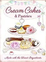 Cream Cakes & Pastries 注意看板メタル安全標識壁パネル注意マー表示パネル金属板のブリキ看板情報サイン