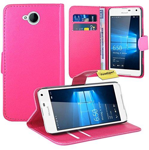 Microsoft Lumia 650 Handy Tasche, FoneExpert® Wallet Hülle Flip Cover Hüllen Etui Ledertasche Lederhülle Premium Schutzhülle für Microsoft Lumia 650 (Rosa)