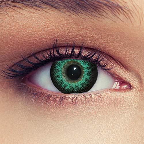 Designlenses 2 Grüne Kontaktlinsen mit Stärke Drei Monatslinsen für einen Bigeye Effekt, geeignet für dunkle Augen + Gratis Behälter