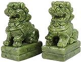 HYBUKDP Estatuas Un par de estatuas verde Guarda de piedra, Beijing leones Par Fu Foo perros, chino Feng Shui Decoración for Ministerio del Interior y atraer abundancia y buena suerte mejor regalo, Cu