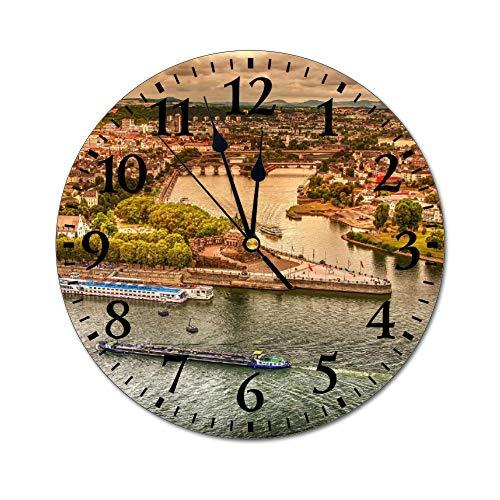 Promini Fashion PVC Wanduhr Koblenz Deutsche Ecke Sachsen Landschaft Stadt Rhein leise Nicht tickende Runde Wanduhr Custom Clock Dekorative Uhr 25 x 25 cm (10x10 Zoll), PVC, Multi, 30x30x0.5cm