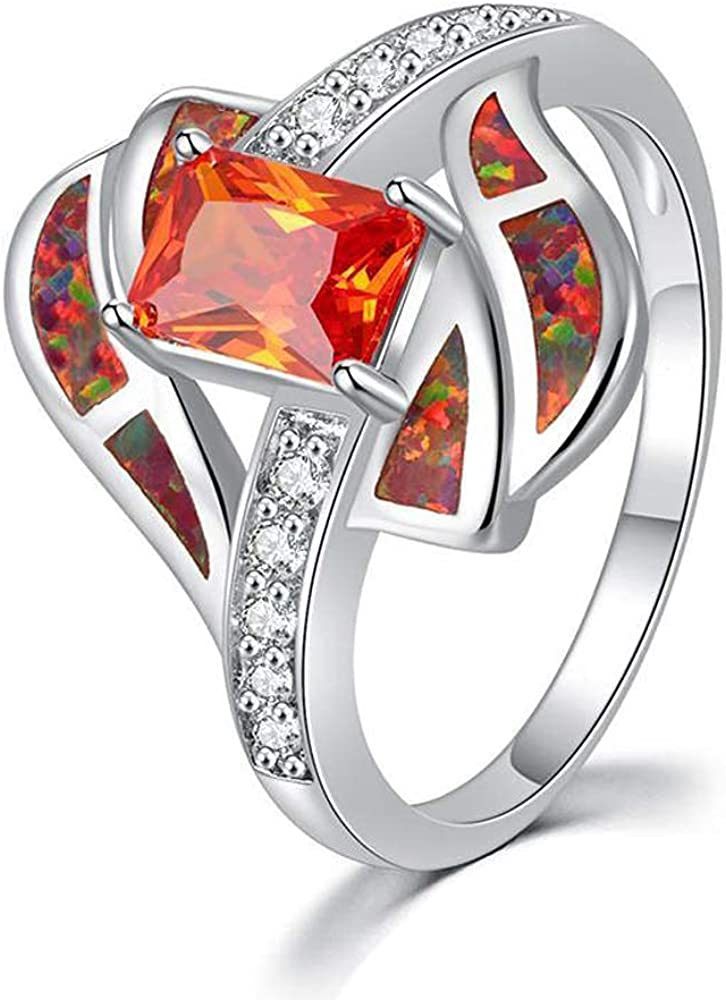 CiNily White Gold New item Plated Houston Mall Created Orange Rings Fire 5-1 Opal Size