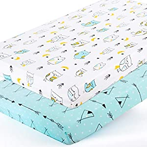 Stretchy-Pack-n-Play-Playard-Sheets-Brolex 2 Pack Portable Mini Crib Sheets,Convertible Playard Mattress Cover for Baby Boys Gilrs,Ultra Soft Jersey Knit,Arrow & Owl
