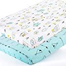 Stretchy-Pack-n-Play-Playard-Sheets-Brolex 2 Pack Portable Mini Crib Sheets,Convertible Playard Mattress Cover for Baby Boys Gilrs,Ultra Soft Jersey Knit,Arrow & Owl