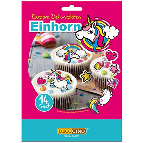 Dekoback DECOCINO Dekoroblaten – 14 Stück – essbares Dekor ideal zum Verzieren von Cupcakes Kuchen und Torten – Vegan glutenfrei laktosefrei, Einhorn, 9 g