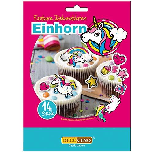 DECOCINO Einhorn Dekoroblaten – 14 Stück – essbares Dekor, ideal zum Verzieren von Cupcakes, Kuchen und Torten – Vegan, glutenfrei & laktosefrei