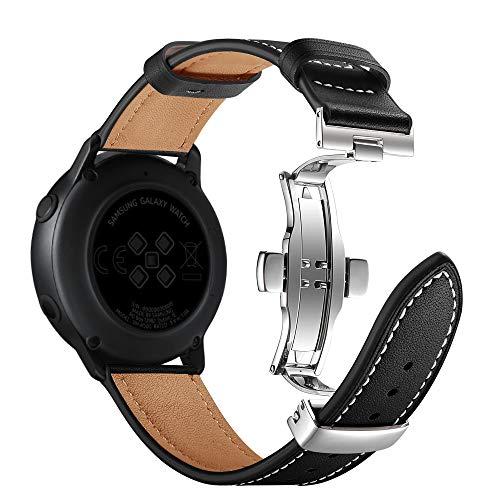AISPORTS Compatible con Samsung Galaxy Watch 42mm Correa Cuero Genuino, 20mm Pulsera de Liberación Rápida con Cierre de Mariposa de Metal de Repuesto para Samsung Galaxy Watch 3 41mm/Active2/Active