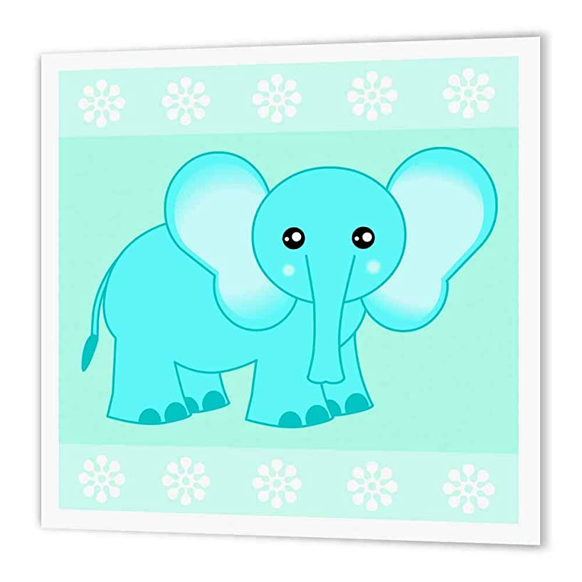 3dRose ht_6099_3 Blue Baby Elephant-Iron on Heat Transfer Paper for White Material, 10 by 10-Inch