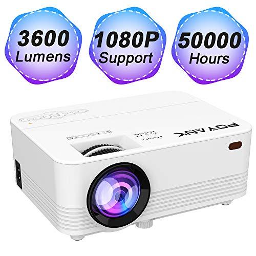 POYANK Projecteur 2500 Lumens Mini LCD Vidéo Beamer Support 1080P Connexion avec TV Stick Console de Jeu PC Smartphone Tablette HDMI VGA TF USB Home Cinéma Projecteur Blanc P18