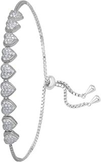 izaara 92.5 Sterling Silver Adjustable Bracelet For Women & Girls