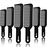 6 Packs Barber Combs, Flat Top Clipper Combs Barber Blending Comb Heat Resistant Hair Cutting Combs For Clipper-Cuts And Flattops (Black)