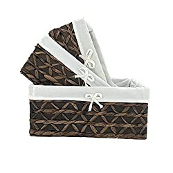 KINGWILLOW Basket of Rectangular Woven Seagrass Storage Bin with Handle, (Wood&Water Hyacinth, Set of 3)