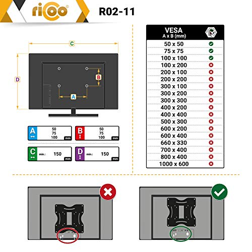 RICOO Monitor-Halterung R02-11 Monitor-Halter Wandhalterung-TV Schwenkbar Neigbar LCD LED Wandhalter fuer Flach-Bildschirm PC-Monitor 43-49-54-61-68cm / 17′ 19′ 22′ 24′ 27′ Zoll | VESA max. 100 x 100 universell | Wandabstand nur 68 mm | - 6