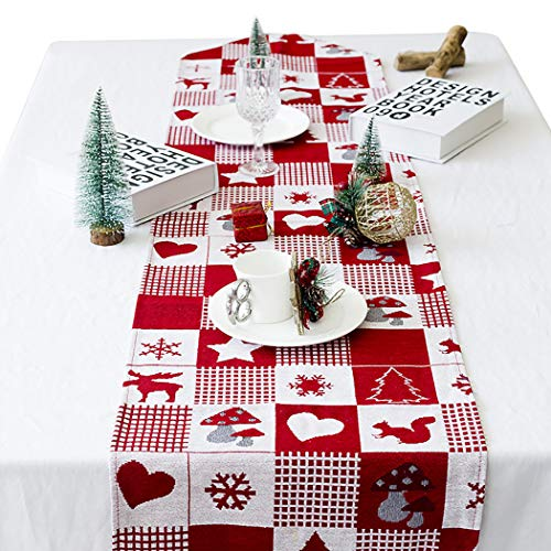 Joyibay Weihnachten Tischläufer, Rot Weihnachten Tischdecke Abwaschbar Esstisch Läufer Dekorative Weihnachten Tischdekoration (35x170cm)