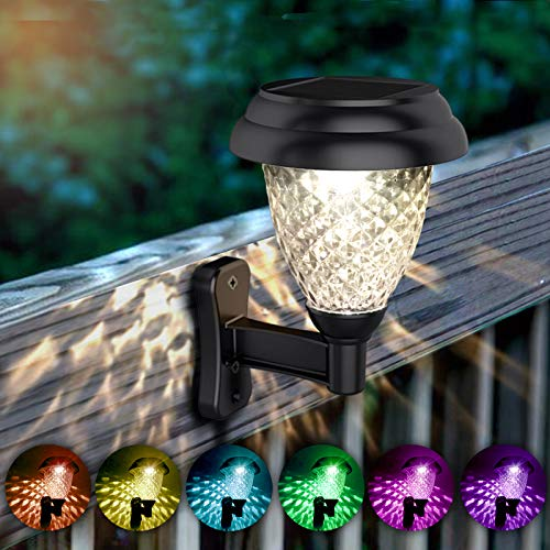 Solar Wall Lantern 6 Pack Outdoor Wall Sconce Waterproof Solar Fence Light Decorative Solar Deck Lights Solar Step Lights Warm White/Color Changing Mode Christmas Led Light Fixture with Wall Mount Kit