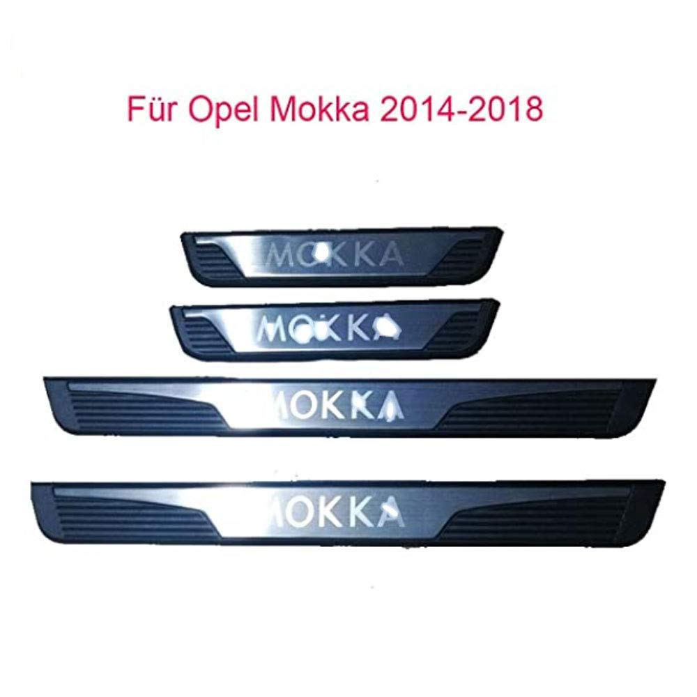 Stainless Steel THDM 4 Pcs Car Door Sill Protector For Opel Vauxhall Mokka 2013 2014 2015 2016 2017 2018 2019 Trim Scuff Pedal Threshold Cover Protection Trim Accessories