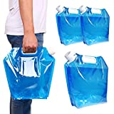 MOAMUN 3PCS Collapsible Plastic Water Container, BPA Free Portable Water Storage Bag, Folding Car Water Carrier Tank for Outdoor Sports, Hiking, Camping Picnic, Travel BBQ (5L*2/10L*1)