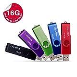 Lot de 5 Clé USB 16 Go ENUODA USB 2.0 Flash Drive Stockage Rotation Disque Mémoire...