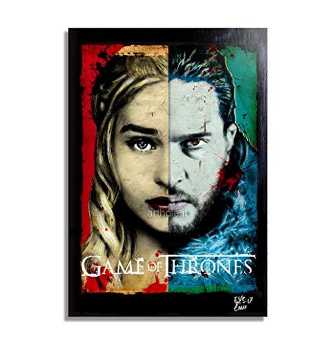 Daenerys Targaryen und Jon Snow von Game of Thrones fernsehserien - Original Gerahmt Fine Art Malerei, Pop-Art, Poster, Leinwand, Artwork, Film Plakat, Leinwanddruck, Got