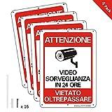 AlfaView Cartelli Segnali Videosorveglianza 10'x 7' Alluminio UV protetto e impermeabile Nessun metallo trasgredicente Segnale di sicurezza riflettente di sicurezza per casa d'affari (4 x Pack)