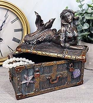 Ebros Bronzed Mermaid Nerida Resting On Sunken Treasure Jewelry Box Figurine 5.25