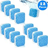 12 Pieces Solid Washing Machine Cleaner Effervescent Tablet Washer Cleaner Deep Cleaning Remover with Triple Decontamination for Bath Room Kitchen