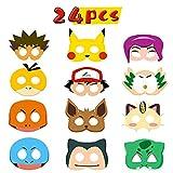 BeYumi 24pcs Pikachu Masken Spielzeug Party Masken 24 Stück Kinder Cosplay Masken Cosplay Party...