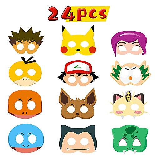 BeYumi 24pcs Kostüm Masken Spielzeug Party Masken 24 Stück Kinder Cosplay Masken Cosplay Party Masken Geburtstag Augen Masken passen für Maskerade
