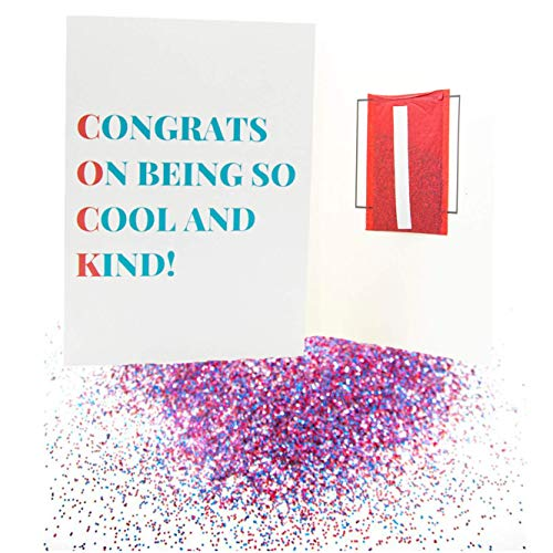 Pranks Anonymous Glitter Prank Card - Joke Glitter Bomb Greeting Cards - Congratulations, Happy Birthday, Thank You & Other Funny Cards - Glitter Card - Prank Mail for Adults - (Congratulations, 1x)