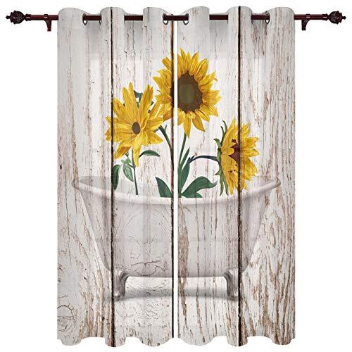"USOPHIA Grommet Semi Sheer Window Treatment,Sunflowers in White Bathtub Bubbles Sunflower Rustic Wooden Plank Living Room Bedroom Window Drapes 2 Panel Set, 40"" x 84"""