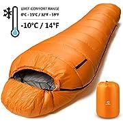 Bessport Schlafsack Winter | -10°C Outdoor Mumienschlafsack für Camping und Bergsteigen mit Ultraleichter und Ultrakompakter 100% Sprüh Gebundene Baumwolle 350g/m² Füllung (Orange)