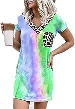 Vestido Casual De Leopardo con Degradado De Arcoiris Y Estampado De Leopardo para Mujer De Verano
