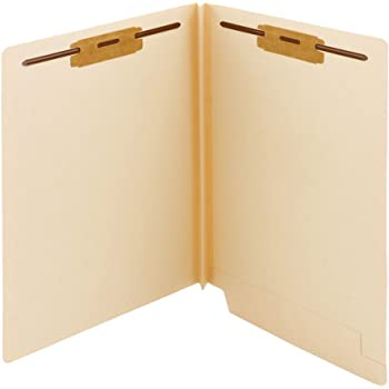 "Smead Extra Capacity End Tab Fastener File Folder, Shelf-Master Reinforced Straight-Cut Tab, 2 Fasteners, 1-1/2"" Expansion, Letter Size, Manila, 50 per Box (34276)"