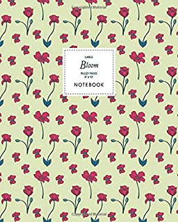 Bloom Notebook - Ruled Pages - 8x10 - Large: (Yellow Edition) Fun Christmas notebook 192 ruled/lined pages (8x10 inches / ...