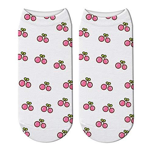 NANAYOUPIN comfortabele katoenen sokken (5 paar) 3D gedrukt Cartoon Cat Paw sokken vrouwen fruit Grappige Cherry korte sokken kind schattig zwembad sokken