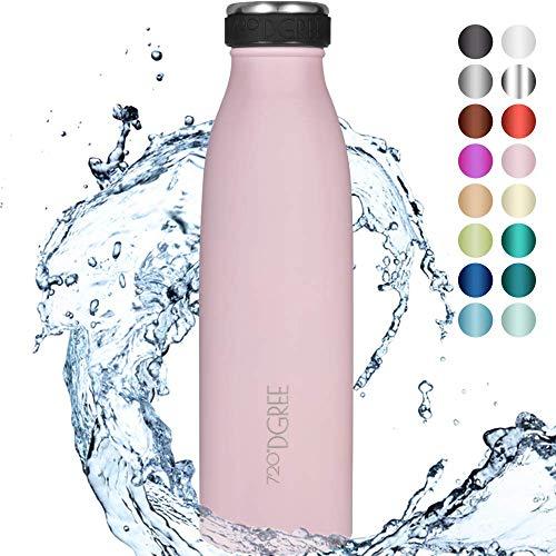 """720°DGREE Edelstahl Trinkflasche """"milkyBottle"""" - 500ml - Perfekt für Kinder, BPA-Frei, Auslaufsicher, Kohlensäure geeignet - Kleine Thermosflasche für Sprudel, Sport, Schule, Fitness"""