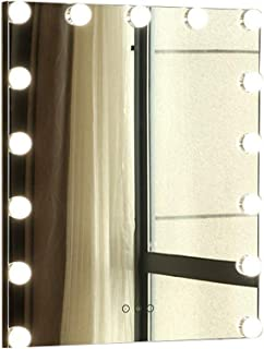 Beauty Mirror Wall Mounted Vanity Mirror, Large Rectangle with Touch Button Rust Prevention Metal Frame Suit for Hair Salon Household Photo Studio Dressing Mirror (Color : Black)