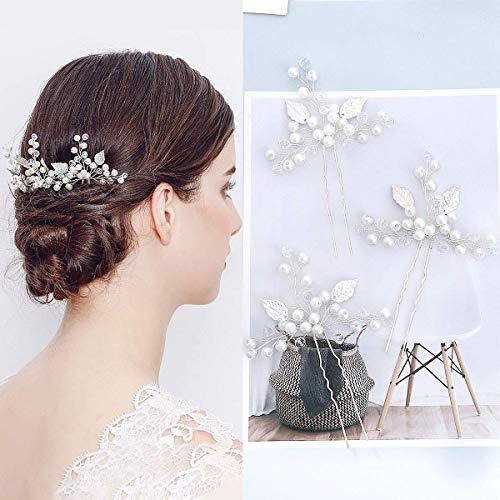 Lot de 3 épingles à cheveux en strass pour mariée