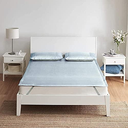 Estera para Dormir de bambú carbonizada, Verano 2.5 Veces cifrado Tejido de Hueco Doble Plegable Alfombra de Seda con Aire Acondicionado (3 Colores) Colchón Fresco (Color: Azul, Tamaño: 1.8x2m)