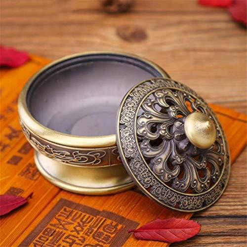 JOYOTER Lotus Pattern Hollow out Cover Soporte de Incienso Ash Catcher Incensario metálico Retro para meditación para Temple Home