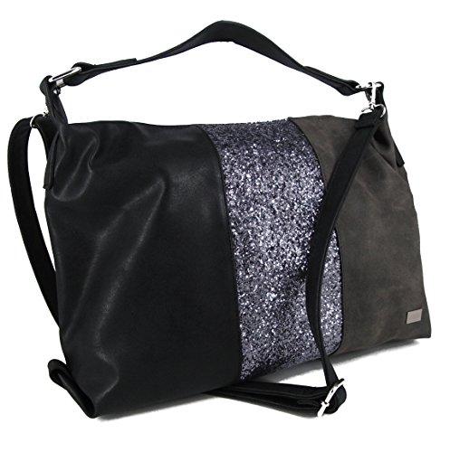Bernardo BOSSI Moderne Glitzer Damentasche Tasche Schultertasche Umhängetasche Handtasche Verschiedene Modelle STEFANO (M3 grau/schwarz)