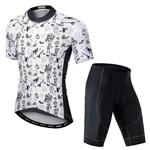 YFPICO Radtrikot Set Fahrrad Trikot Kurzarm + Radhose mit Sitzpolster Radsport-Anzüge, Weiße Strichmännchen, 2X