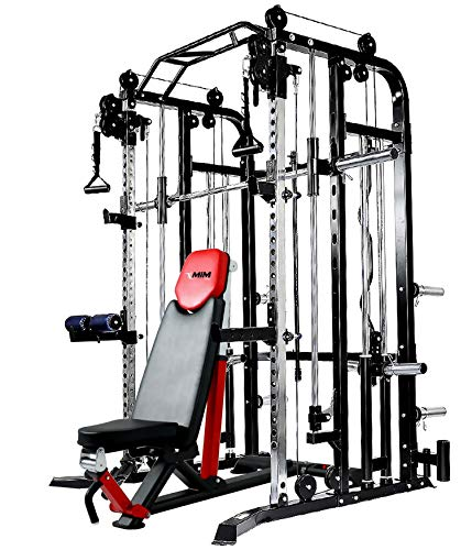 MiM USA Full Gym Equipment Set of Functional Trainer Smith Machine Power Cage & Adjustable Weight Bench All-in-One Complete Home Gym Machine SM+FT 1001 Pro