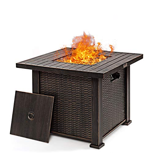 S AFSTAR Propane Fire Pit Table 30 Inch 50,000 BTU Auto-Ignition Gas Fire Pit with Lid & Lava Rock, Square Fire Table for Outside, CSA and ETL Certification
