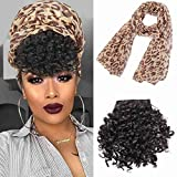 Afro Puff with Headwrap Synthetic 2 in 1 Short Afro Kinky Curly Full Wig Drawstring Ponytail Extensions Afro High Puff Bangs with Scraf
