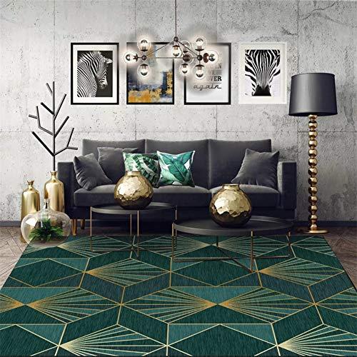 RPLW Moderno Alfombra De Salón para El Salón, Esmeralda Lujo Antideslizante Geométrica Alfombra para El Dormitorio Decoración del Hogar, Verde Oscuro Y Dorado-a 100x160cm(39x63inch)